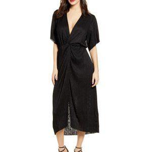 All In Favor Black Velvet Rib Gathered Waist Dress